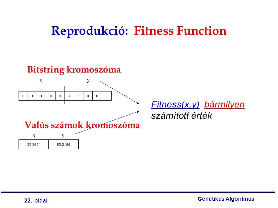 22. oldal Genetikus Algoritmus Reprodukció: Fitness Function Valós számok kromoszóma Fitness(x,y) bármilyen számított érték Bitstring kromoszóma