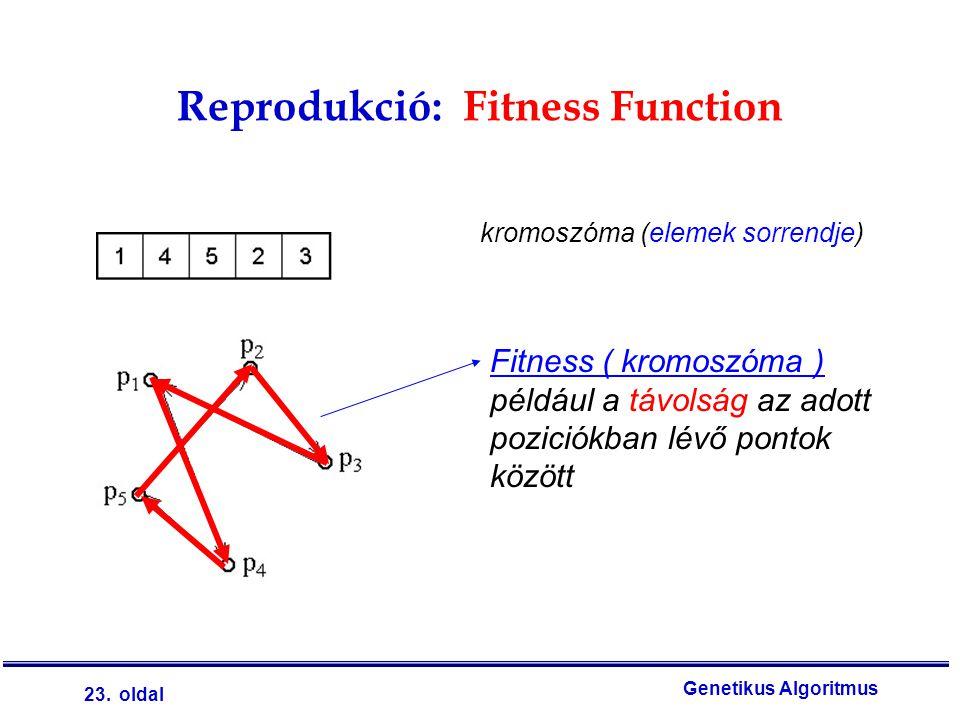 23. oldal Genetikus Algoritmus Reprodukció: Fitness Function Fitness ( kromoszóma ) például a távolság az adott poziciókban lévő pontok között kromosz