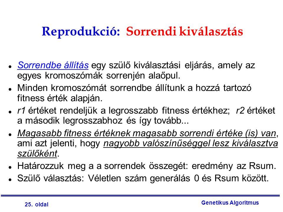 25. oldal Genetikus Algoritmus Reprodukció: Sorrendi kiválasztás l Sorrendbe állítás egy szülő kiválasztási eljárás, amely az egyes kromoszómák sorren