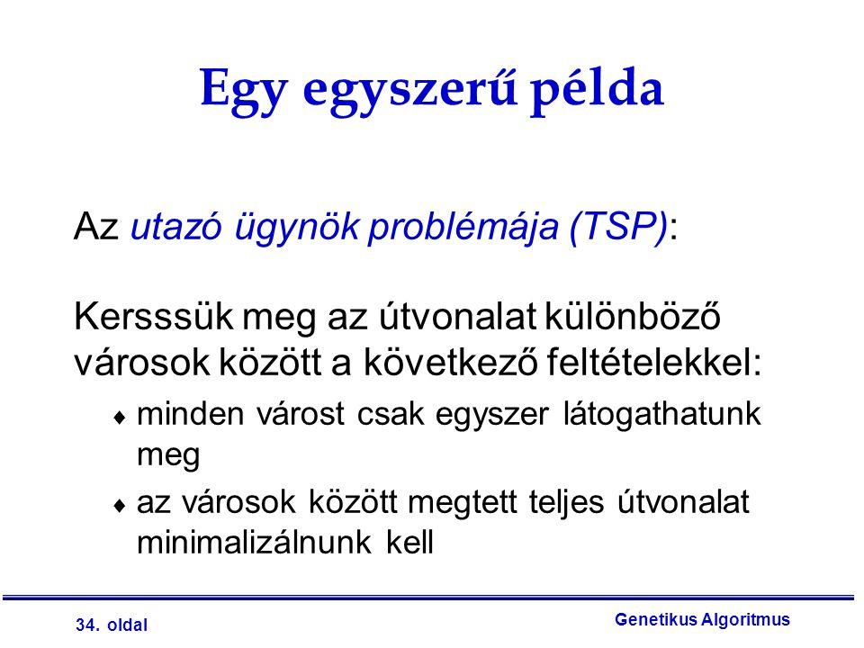 34. oldal Genetikus Algoritmus Egy egyszerű példa Az utazó ügynök problémája (TSP): Kersssük meg az útvonalat különböző városok között a következő fel