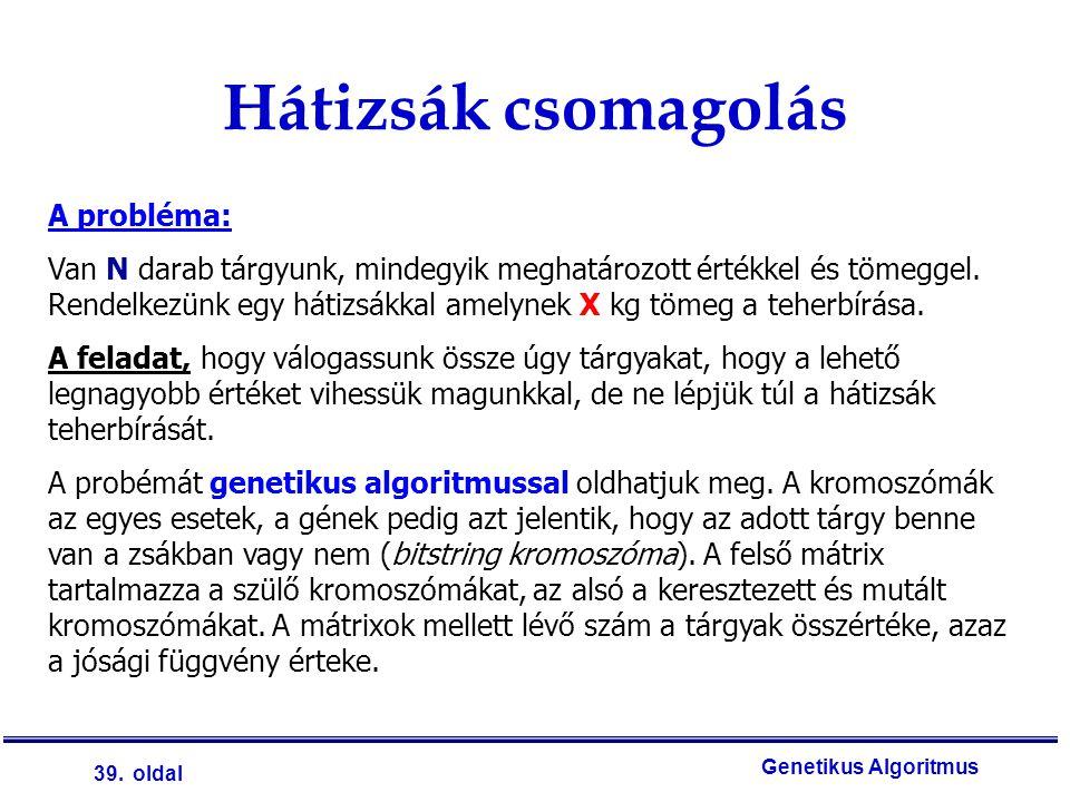 39. oldal Genetikus Algoritmus Hátizsák csomagolás A probléma: Van N darab tárgyunk, mindegyik meghatározott értékkel és tömeggel. Rendelkezünk egy há
