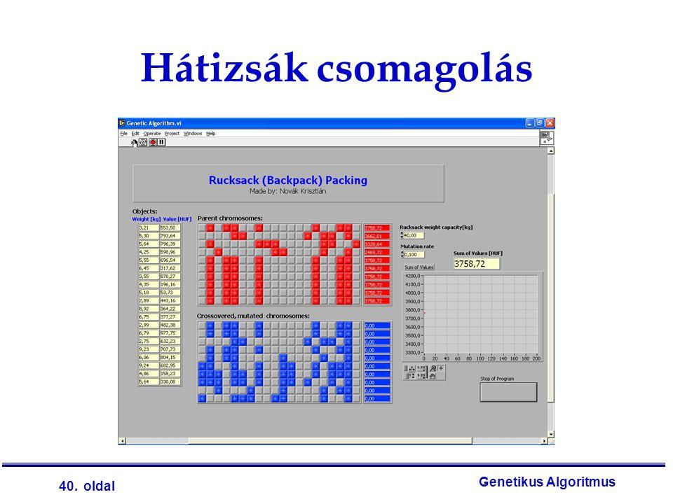 40. oldal Genetikus Algoritmus Hátizsák csomagolás