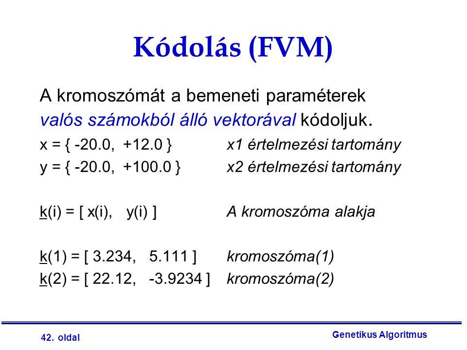 42. oldal Genetikus Algoritmus A kromoszómát a bemeneti paraméterek valós számokból álló vektorával kódoljuk. x = { -20.0, +12.0 }x1 értelmezési tarto