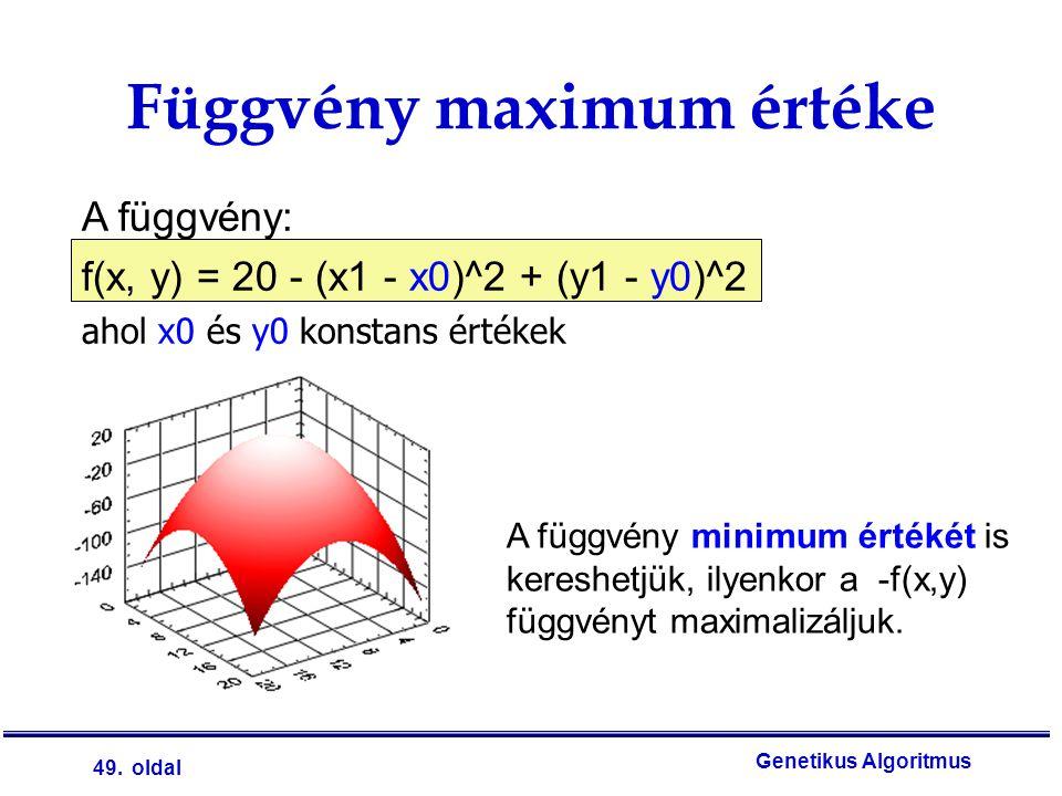 49. oldal Genetikus Algoritmus A függvény: f(x, y) = 20 - (x1 - x0)^2 + (y1 - y0)^2 ahol x0 és y0 konstans értékek Függvény maximum értéke A függvény