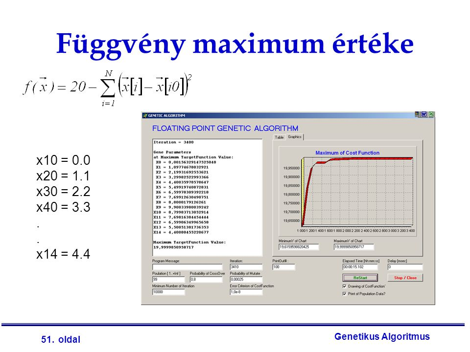 51. oldal Genetikus Algoritmus Függvény maximum értéke x10 = 0.0 x20 = 1.1 x30 = 2.2 x40 = 3.3. x14 = 4.4