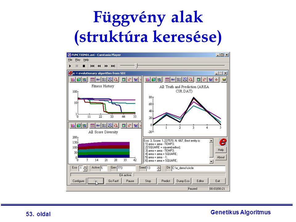 53. oldal Genetikus Algoritmus Függvény alak (struktúra keresése)