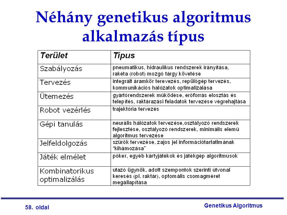 58. oldal Genetikus Algoritmus Néhány genetikus algoritmus alkalmazás típus