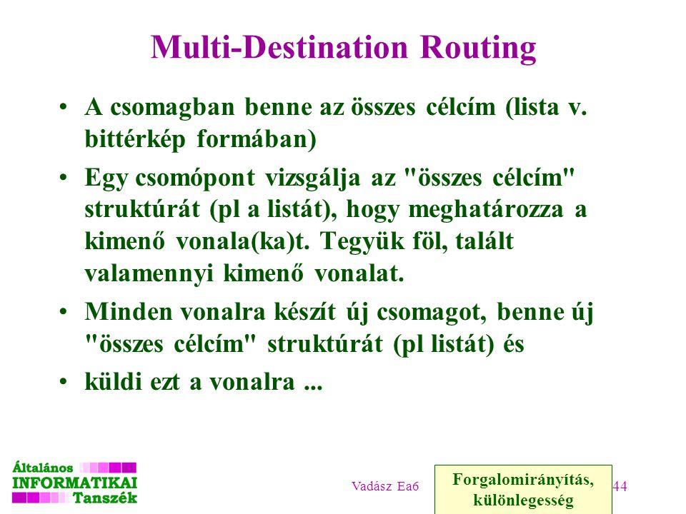 Vadász Ea6 44 Multi-Destination Routing A csomagban benne az összes célcím (lista v.