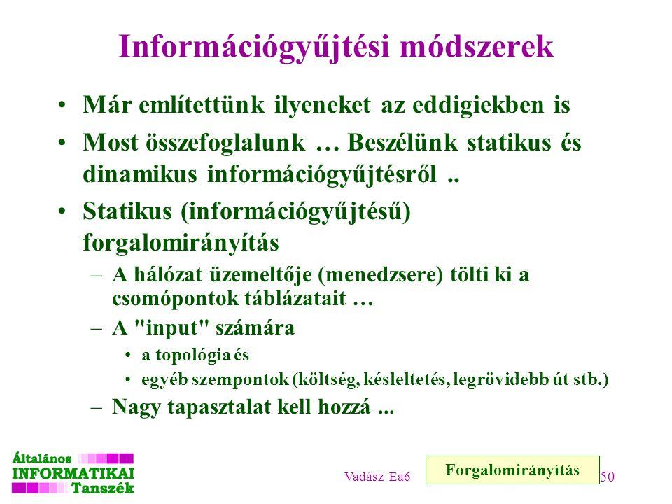 Vadász Ea6 50 Információgyűjtési módszerek Már említettünk ilyeneket az eddigiekben is Most összefoglalunk … Beszélünk statikus és dinamikus információgyűjtésről..