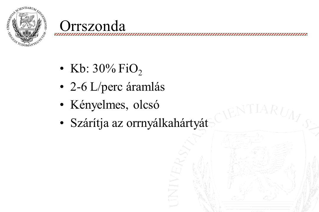 Orrszonda Molnár '99 Kb: 30% FiO 2 2-6 L/perc áramlás Kényelmes, olcsó Szárítja az orrnyálkahártyát