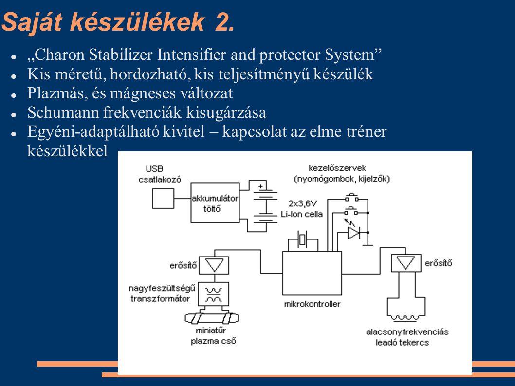 """Saját készülékek 2. """"Charon Stabilizer Intensifier and protector System"""" Kis méretű, hordozható, kis teljesítményű készülék Plazmás, és mágneses válto"""