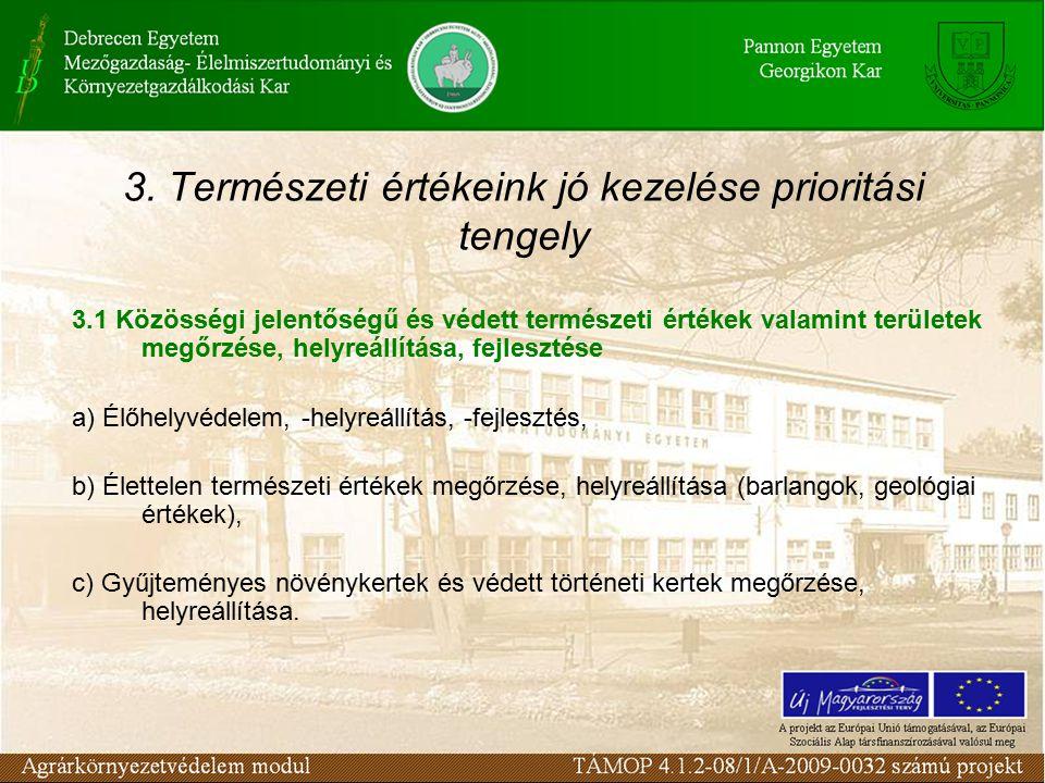 3. Természeti értékeink jó kezelése prioritási tengely 3.1 Közösségi jelentőségű és védett természeti értékek valamint területek megőrzése, helyreállí