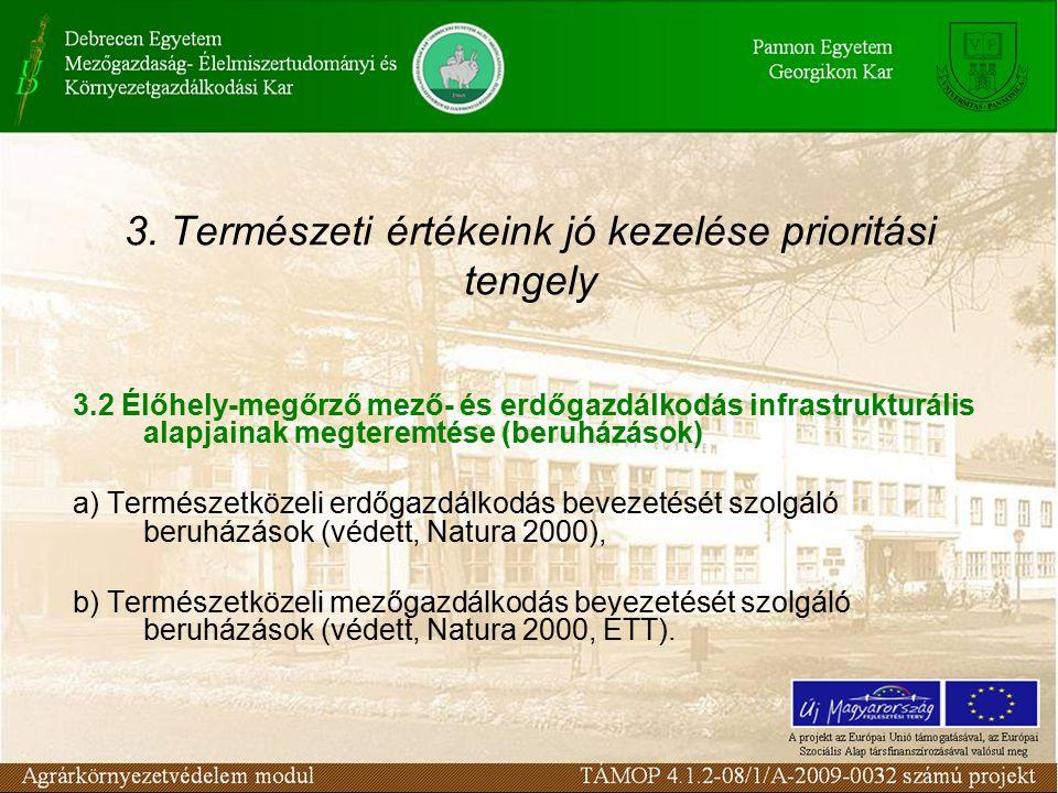 3. Természeti értékeink jó kezelése prioritási tengely 3.2 Élőhely-megőrző mező- és erdőgazdálkodás infrastrukturális alapjainak megteremtése (beruház