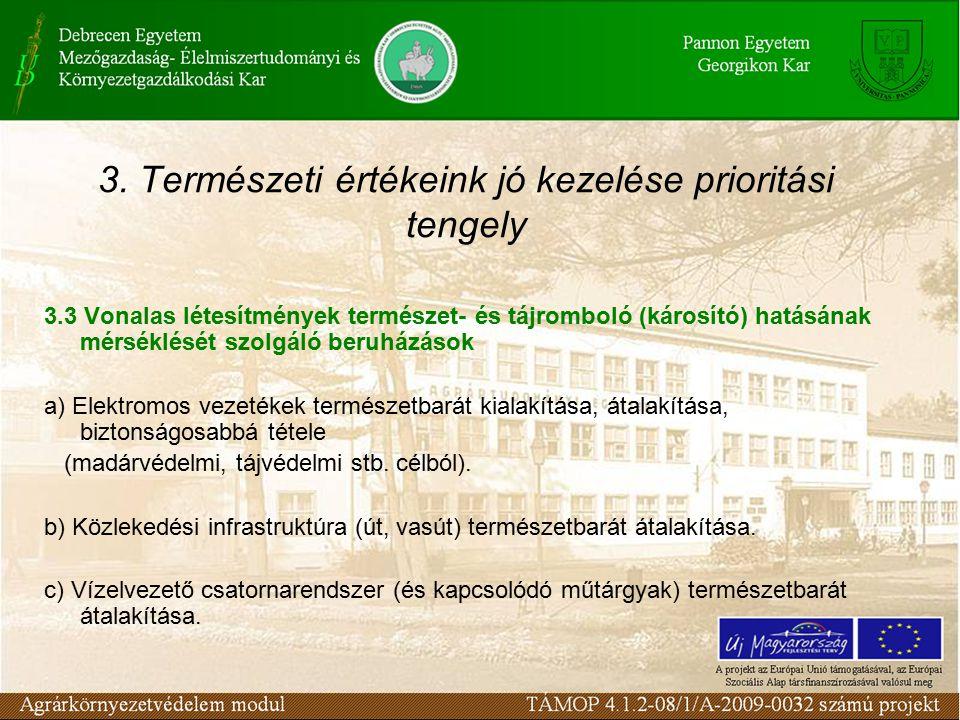 3. Természeti értékeink jó kezelése prioritási tengely 3.3 Vonalas létesítmények természet- és tájromboló (károsító) hatásának mérséklését szolgáló be