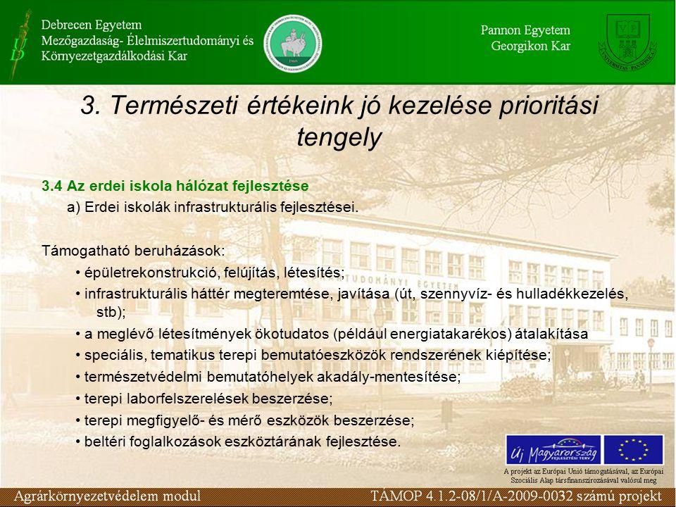 3. Természeti értékeink jó kezelése prioritási tengely 3.4 Az erdei iskola hálózat fejlesztése a) Erdei iskolák infrastrukturális fejlesztései. Támoga
