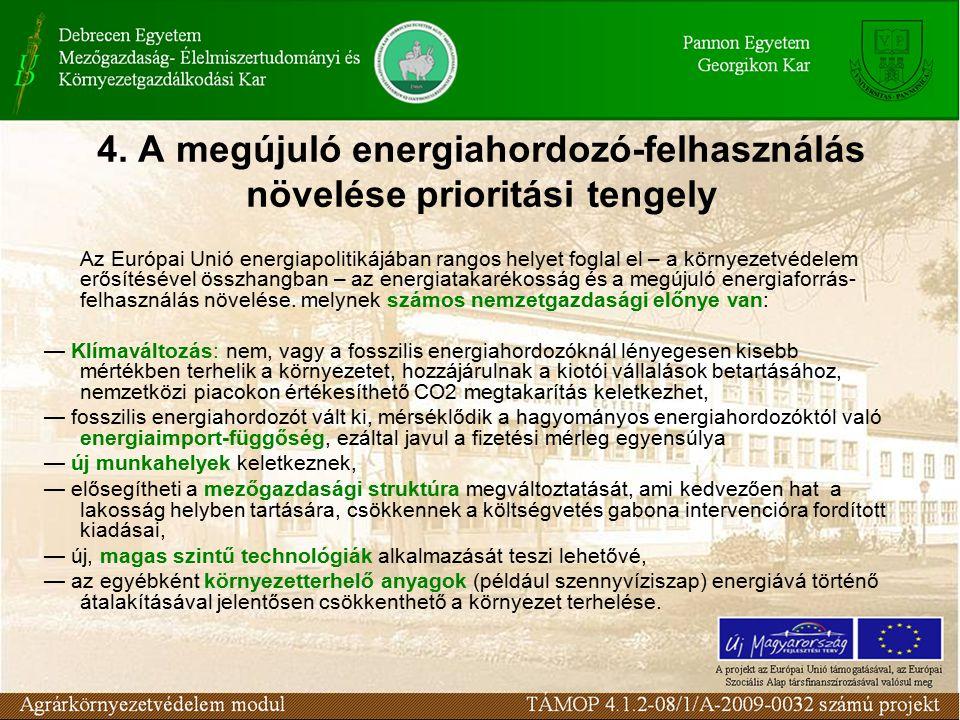 4. A megújuló energiahordozó-felhasználás növelése prioritási tengely Az Európai Unió energiapolitikájában rangos helyet foglal el – a környezetvédele
