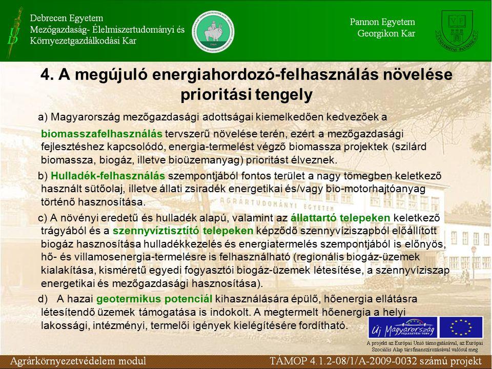 4. A megújuló energiahordozó-felhasználás növelése prioritási tengely a) Magyarország mezőgazdasági adottságai kiemelkedően kedvezőek a biomasszafelha