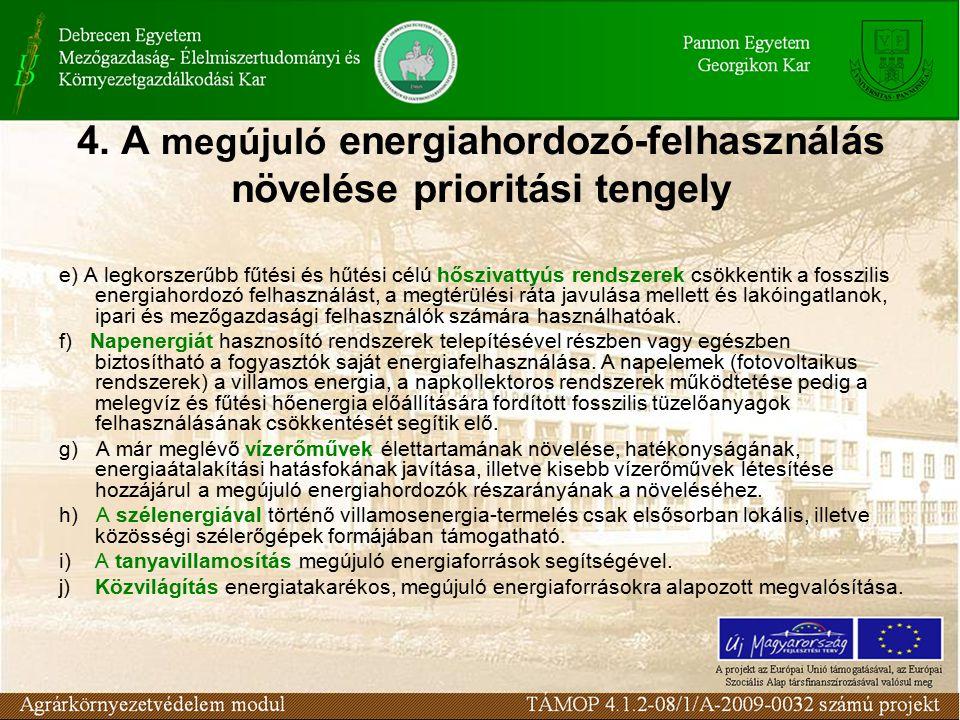 4. A megújuló energiahordozó-felhasználás növelése prioritási tengely e) A legkorszerűbb fűtési és hűtési célú hőszivattyús rendszerek csökkentik a fo