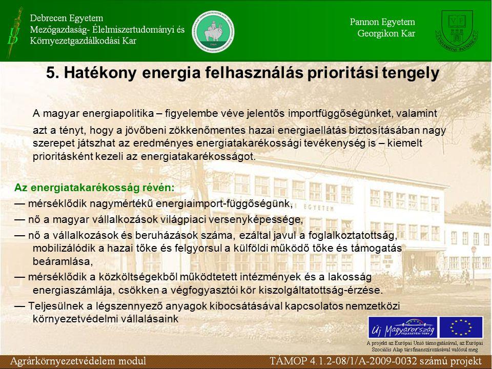 5. Hatékony energia felhasználás prioritási tengely A magyar energiapolitika – figyelembe véve jelentős importfüggőségünket, valamint azt a tényt, hog