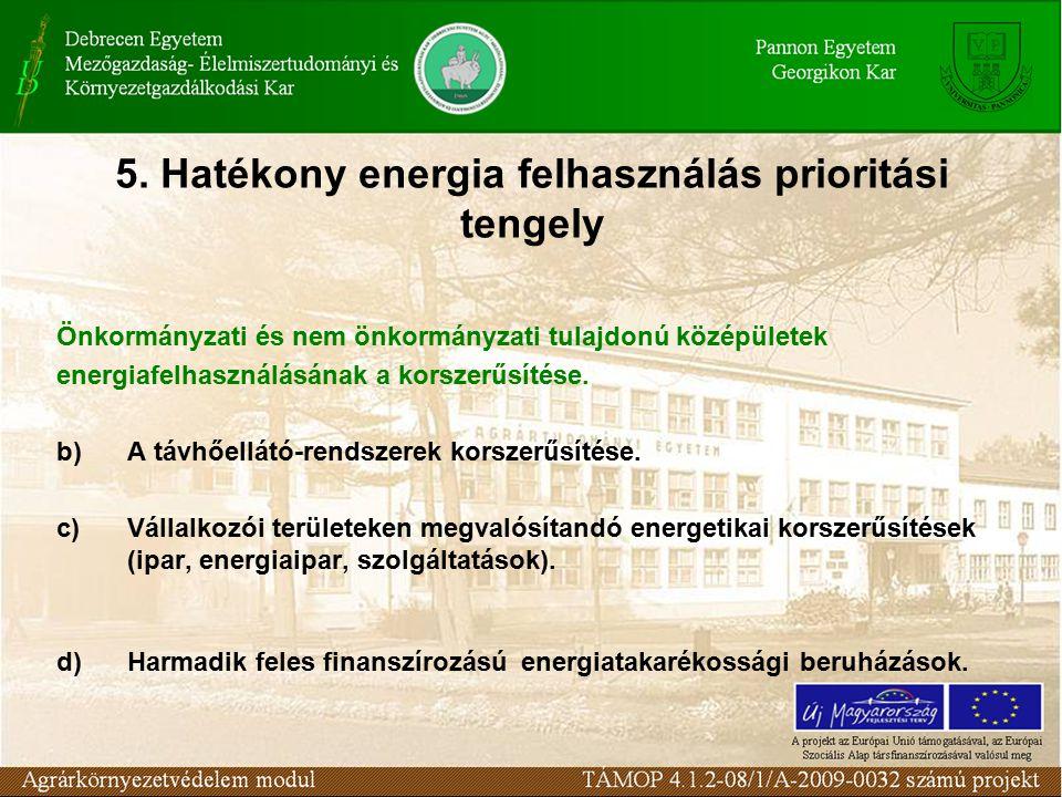 5. Hatékony energia felhasználás prioritási tengely Önkormányzati és nem önkormányzati tulajdonú középületek energiafelhasználásának a korszerűsítése.