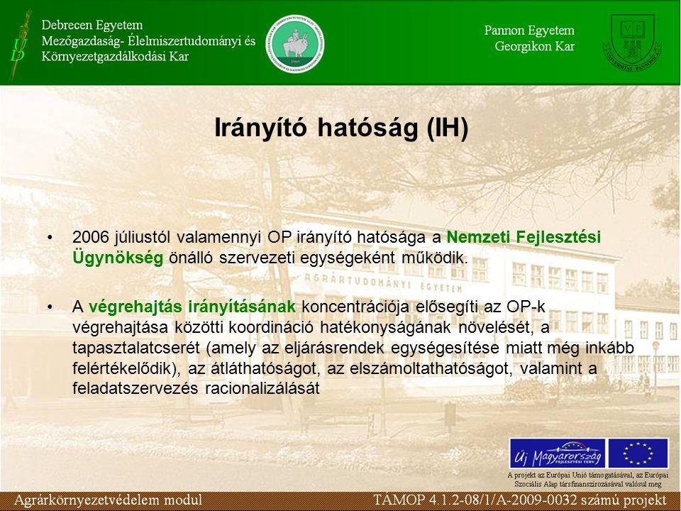 Irányító hatóság (IH) 2006 júliustól valamennyi OP irányító hatósága a Nemzeti Fejlesztési Ügynökség önálló szervezeti egységeként működik.