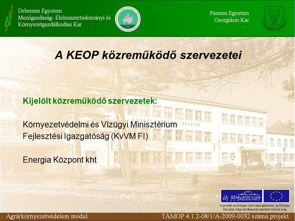 A KEOP közreműködő szervezetei Kijelölt közreműködő szervezetek: Környezetvédelmi és Vízügyi Minisztérium Fejlesztési Igazgatóság (KvVM FI) Energia Központ kht