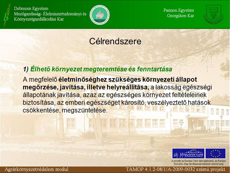 Célrendszere 1) Élhető környezet megteremtése és fenntartása A megfelelő életminőséghez szükséges környezeti állapot megőrzése, javítása, illetve helyreállítása, a lakosság egészségi állapotának javítása, azaz az egészséges környezet feltételeinek biztosítása, az emberi egészséget károsító, veszélyeztető hatások csökkentése, megszüntetése.