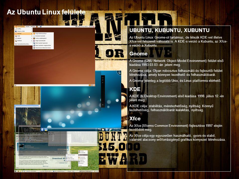 Az Ubuntu Linux felülete UBUNTU, KUBUNTU, XUBUNTU Az Ubuntu Linux Gnome-ot tartalmaz, de létezik KDE-vel illetve Xfce-vel felszerelt változata is.