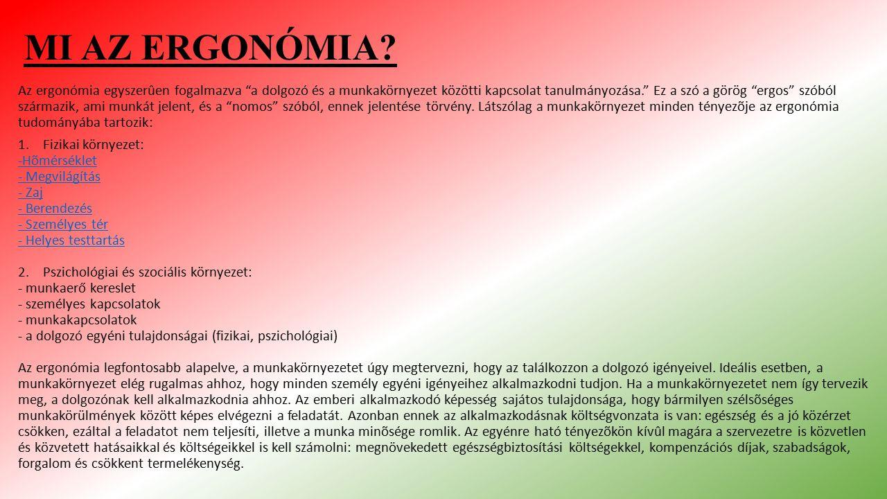 """MI AZ ERGONÓMIA? Az ergonómia egyszerûen fogalmazva """"a dolgozó és a munkakörnyezet közötti kapcsolat tanulmányozása."""" Ez a szó a görög """"ergos"""" szóból"""