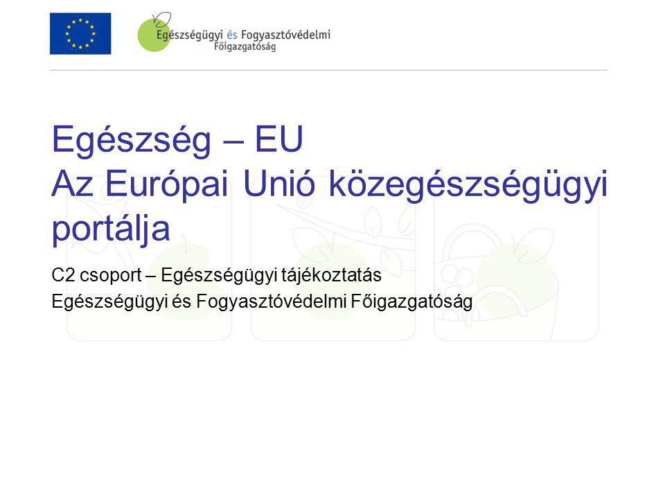 Egészség – EU Az Európai Unió közegészségügyi portálja C2 csoport – Egészségügyi tájékoztatás Egészségügyi és Fogyasztóvédelmi Főigazgatóság