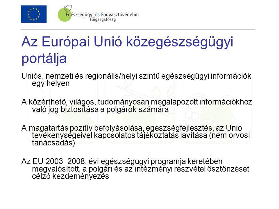 Az Európai Unió közegészségügyi portálja Uniós, nemzeti és regionális/helyi szintű egészségügyi információk egy helyen A közérthető, világos, tudományosan megalapozott információkhoz való jog biztosítása a polgárok számára A magatartás pozitív befolyásolása, egészségfejlesztés, az Unió tevékenységeivel kapcsolatos tájékoztatás javítása (nem orvosi tanácsadás) Az EU 2003–2008.