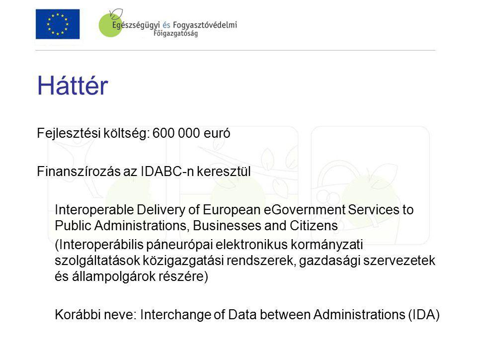 Háttér Fejlesztési költség: 600 000 euró Finanszírozás az IDABC-n keresztül Interoperable Delivery of European eGovernment Services to Public Administrations, Businesses and Citizens (Interoperábilis páneurópai elektronikus kormányzati szolgáltatások közigazgatási rendszerek, gazdasági szervezetek és állampolgárok részére) Korábbi neve: Interchange of Data between Administrations (IDA)