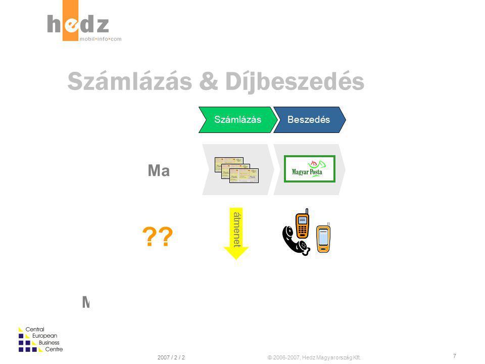 © 2006-2007, Hedz Magyarország Kft.2007 / 2 / 2 7 Ma SzámlázásBeszedés Majd egyszer… Számlázás & Díjbeszedés átmenet ??