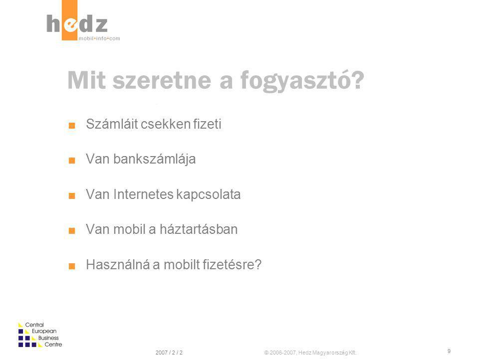 © 2006-2007, Hedz Magyarország Kft.2007 / 2 / 2 8 Ma SzámlázásBeszedés Majd egyszer… Számlázás & Díjbeszedés átmenet Akár már most A piac erre ma már érett Majd amikor az internet kellően elterjed