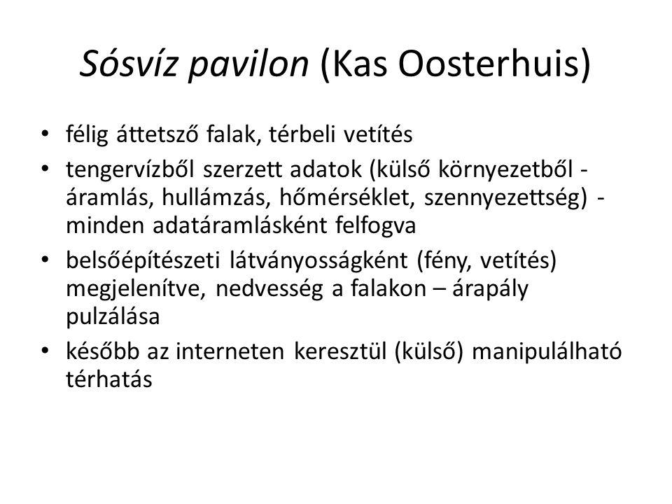 Sósvíz pavilon (Kas Oosterhuis) félig áttetsző falak, térbeli vetítés tengervízből szerzett adatok (külső környezetből - áramlás, hullámzás, hőmérséklet, szennyezettség) - minden adatáramlásként felfogva belsőépítészeti látványosságként (fény, vetítés) megjelenítve, nedvesség a falakon – árapály pulzálása később az interneten keresztül (külső) manipulálható térhatás