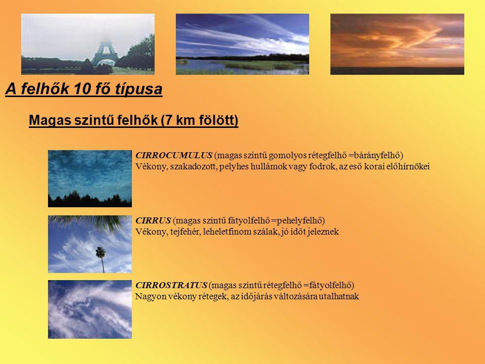 A felhők 10 fő típusa Magas szintű felhők (7 km fölött) CIRROCUMULUS (magas szintű gomolyos rétegfelhő =bárányfelhő) Vékony, szakadozott, pelyhes hull