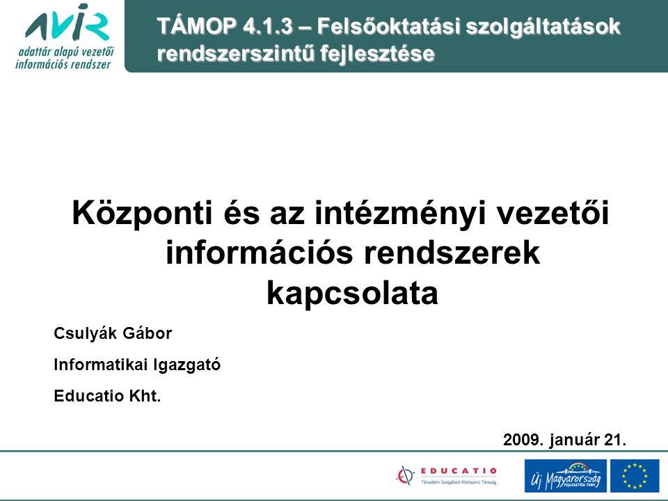 Központi és az intézményi vezetői információs rendszerek kapcsolata Csulyák Gábor Informatikai Igazgató Educatio Kht.