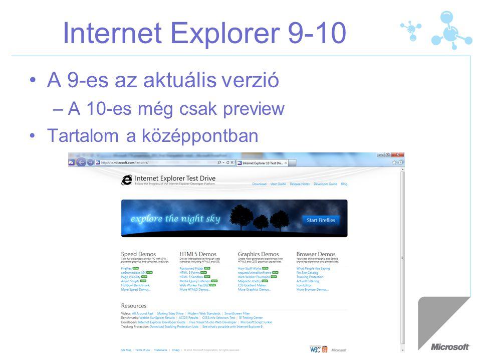 Internet Explorer 9-10 A 9-es az aktuális verzió –A 10-es még csak preview Tartalom a középpontban
