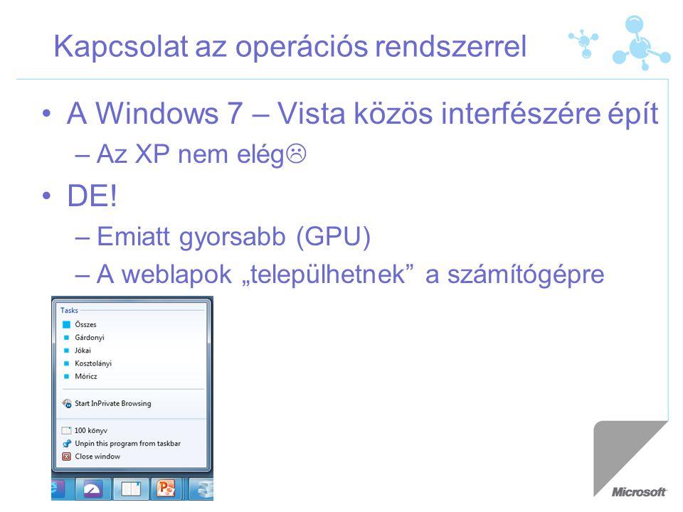 """Kapcsolat az operációs rendszerrel A Windows 7 – Vista közös interfészére épít –Az XP nem elég  DE! –Emiatt gyorsabb (GPU) –A weblapok """"települhetnek"""
