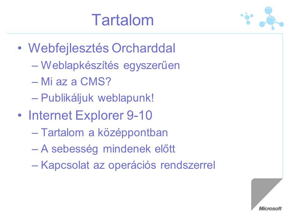 Tartalom Webfejlesztés Orcharddal –Weblapkészítés egyszerűen –Mi az a CMS? –Publikáljuk weblapunk! Internet Explorer 9-10 –Tartalom a középpontban –A