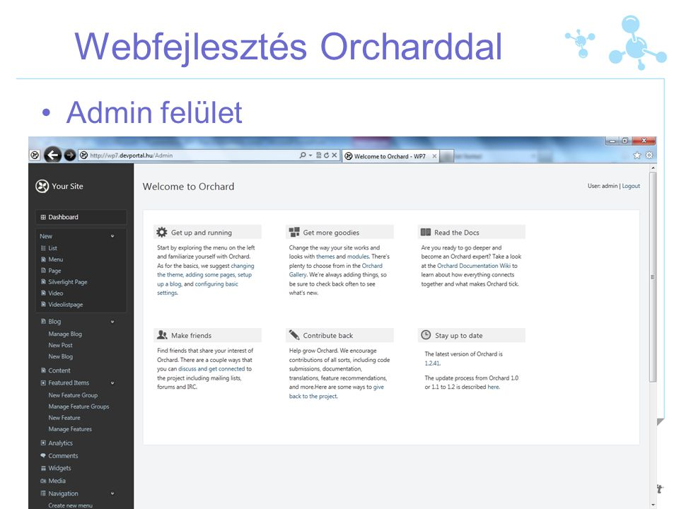 Webfejlesztés Orcharddal Admin felület