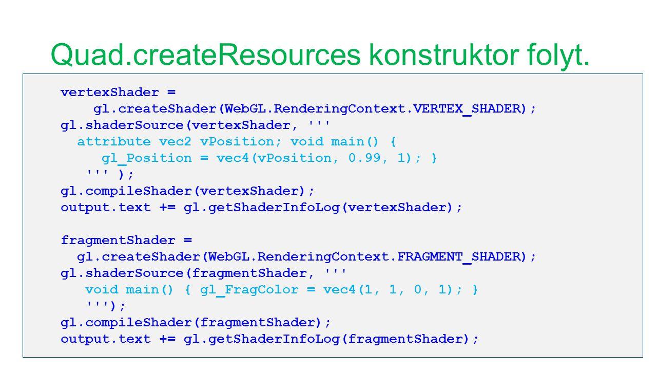 Quad.createResources konstruktor folyt. vertexShader = gl.createShader(WebGL.RenderingContext.VERTEX_SHADER); gl.shaderSource(vertexShader, ''' attrib