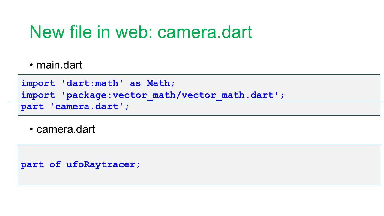 New file in web: camera.dart main.dart camera.dart import 'dart:math' as Math; import 'package:vector_math/vector_math.dart'; part 'camera.dart'; part