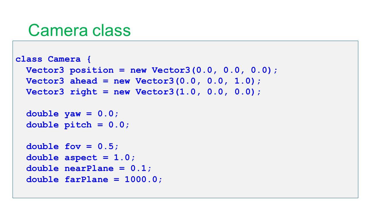 Camera class class Camera { Vector3 position = new Vector3(0.0, 0.0, 0.0); Vector3 ahead = new Vector3(0.0, 0.0, 1.0); Vector3 right = new Vector3(1.0