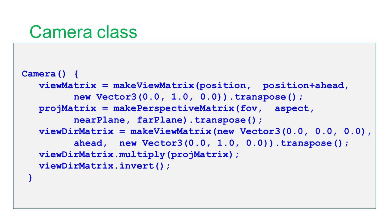 Camera class Camera() { viewMatrix = makeViewMatrix(position, position+ahead, new Vector3(0.0, 1.0, 0.0)).transpose(); projMatrix = makePerspectiveMat