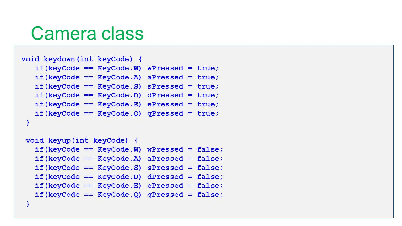 Camera class void keydown(int keyCode) { if(keyCode == KeyCode.W) wPressed = true; if(keyCode == KeyCode.A) aPressed = true; if(keyCode == KeyCode.S)