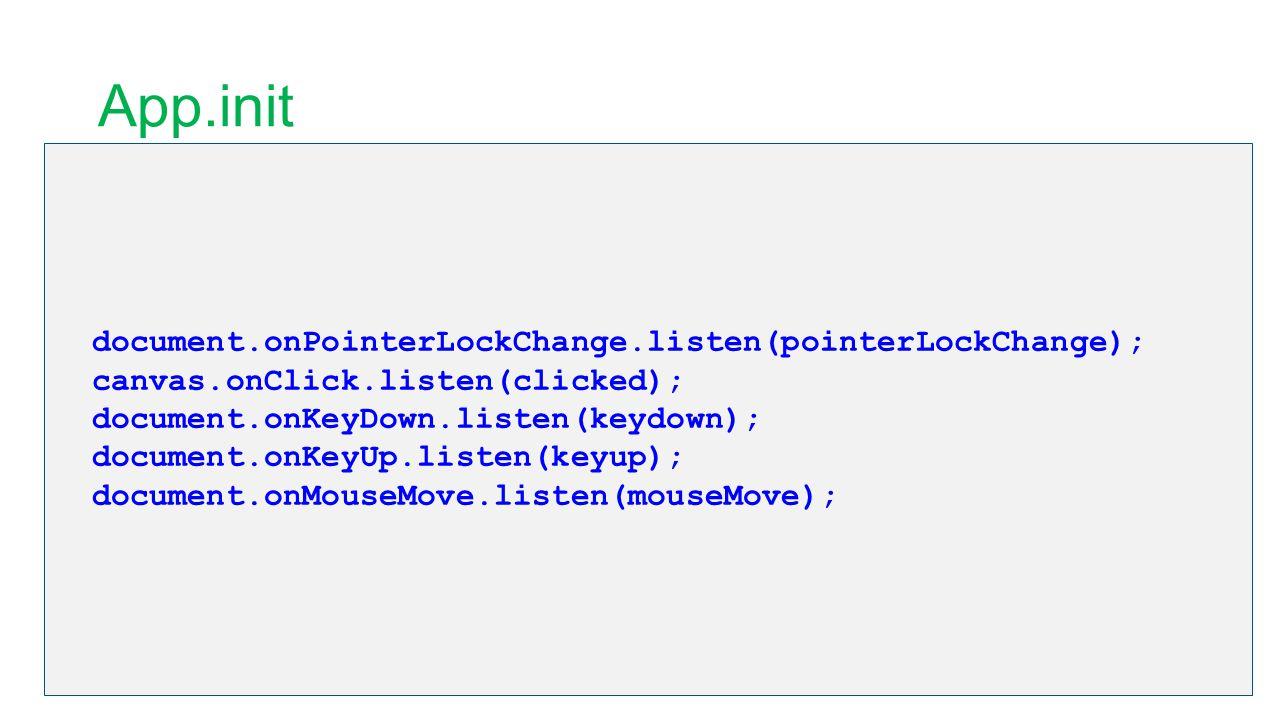 App.init document.onPointerLockChange.listen(pointerLockChange); canvas.onClick.listen(clicked); document.onKeyDown.listen(keydown); document.onKeyUp.