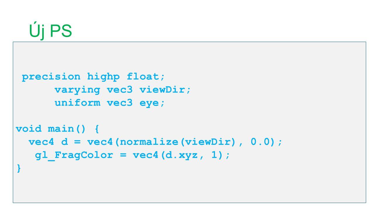 Új PS precision highp float; varying vec3 viewDir; uniform vec3 eye; void main() { vec4 d = vec4(normalize(viewDir), 0.0); gl_FragColor = vec4(d.xyz,