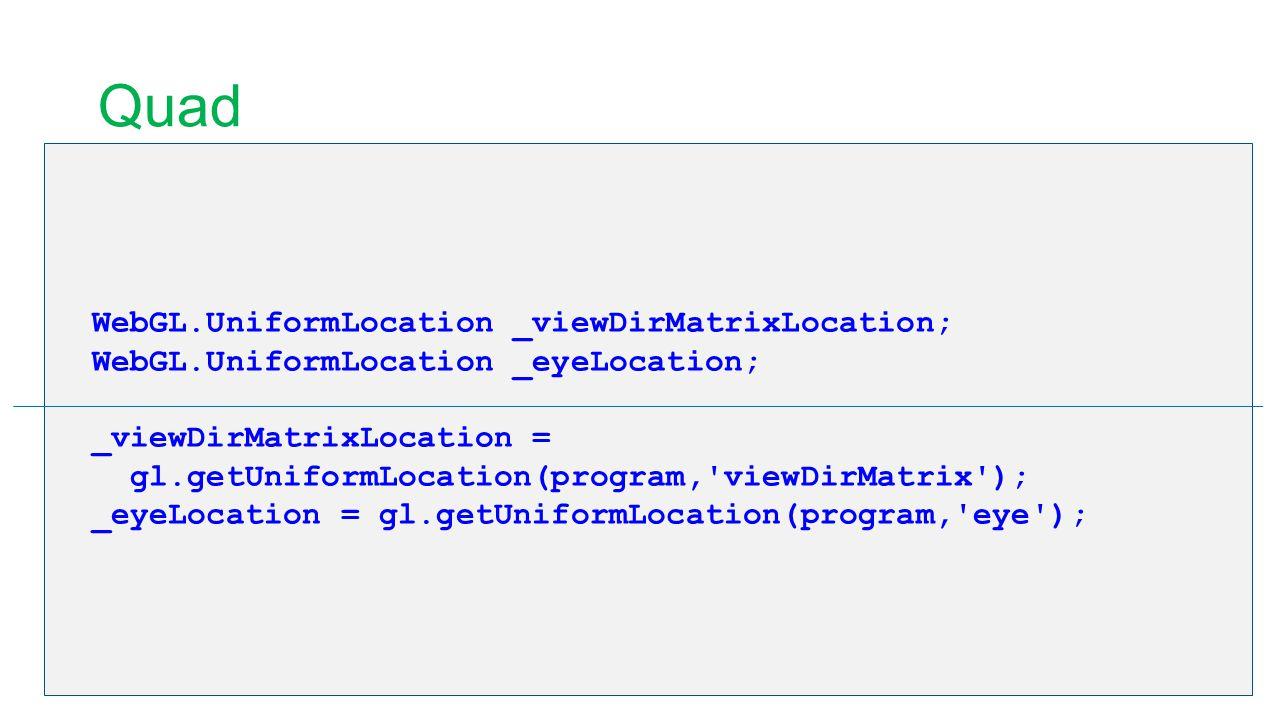 Quad WebGL.UniformLocation _viewDirMatrixLocation; WebGL.UniformLocation _eyeLocation; _viewDirMatrixLocation = gl.getUniformLocation(program,'viewDir