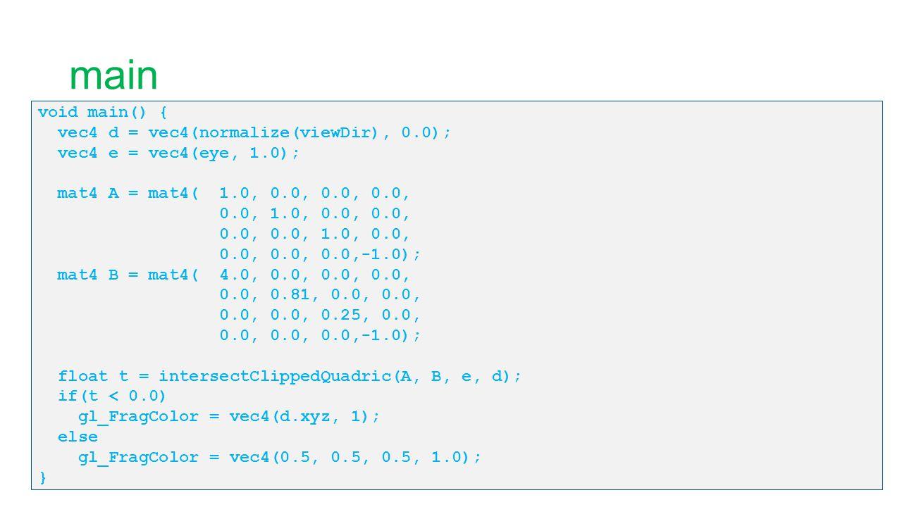 main void main() { vec4 d = vec4(normalize(viewDir), 0.0); vec4 e = vec4(eye, 1.0); mat4 A = mat4( 1.0, 0.0, 0.0, 0.0, 0.0, 1.0, 0.0, 0.0, 0.0, 0.0, 1
